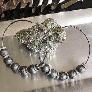 Jewelry - Large Beaded Hoop Earrings
